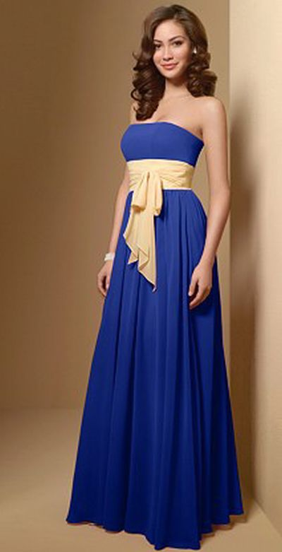 Alfred Angelo Long Chiffon Two Tone Bridesmaid Dress 7017: French ...
