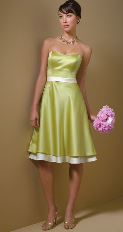 Alfred Angelo Cocktail Length Two Tone Bridesmaid Dress