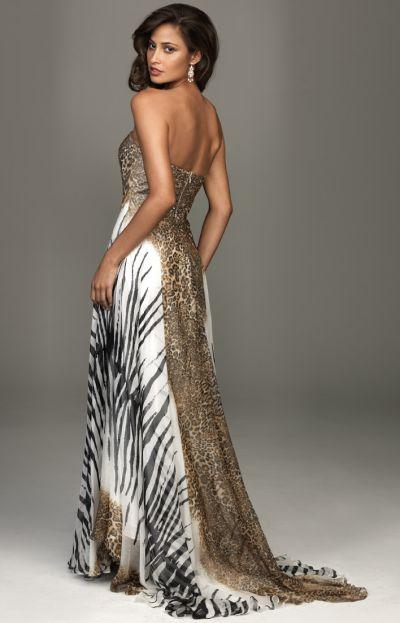 Strapless Animal Print Dress Animal Print Chiffon Dress
