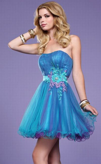 Purple And Blue Short Prom Dresses - Long Dresses Online