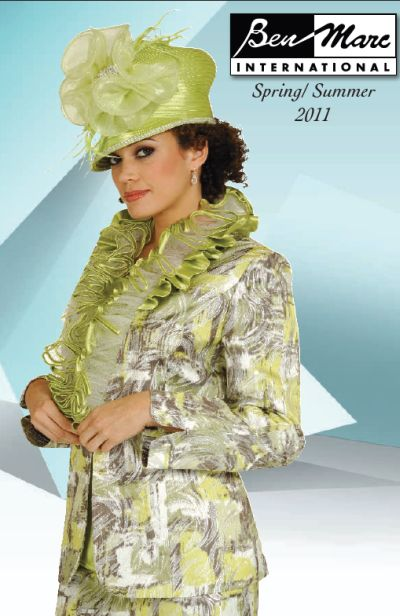 Ben Marc Lime Green Print Womens Church Suit 4532 French