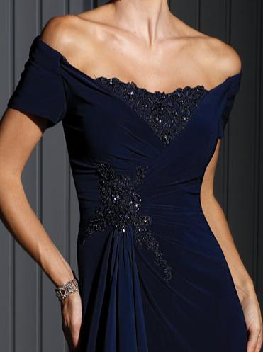 Cameron Blake Off The Shoulder Jersey Evening Dress 111688