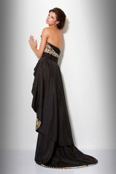 Black dress with long train