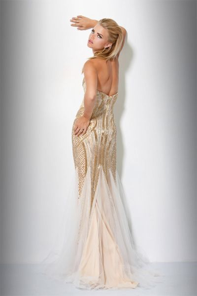 Jovani Fully Beaded Evening Gown 17430 With Sheer Godets