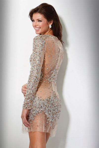 27ee59df Jovani Super Sexy Sequin Illusion Cocktail Dress 7757: French Novelty