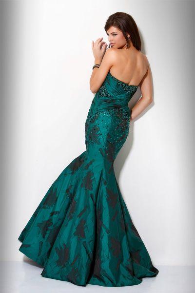 Green and Black Print Mermaid Formal Dress Jovani 9310: French Novelty