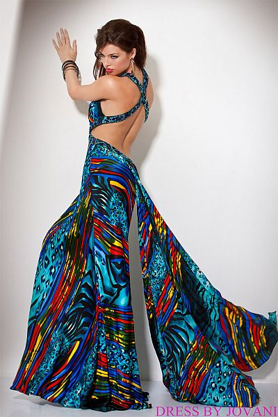 Jovani Beyond Wild Colorful Print Prom Dress B225: French Novelty