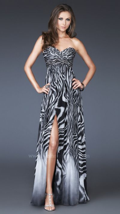 Zebra Print Chiffon Prom Dress La Femme Black and White 15989 ...