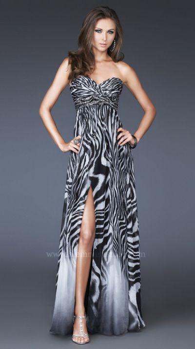 Zebra Print Chiffon Prom Dress La Femme Black And White 15989