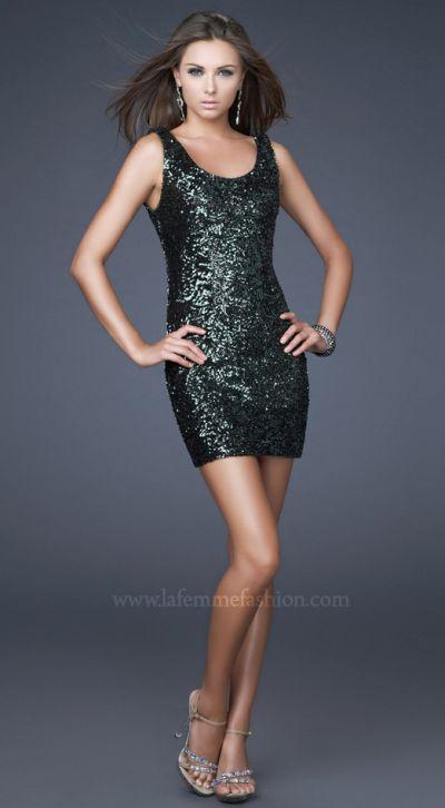La Femme Short Sequin Tank Top Prom Dress 15846 French