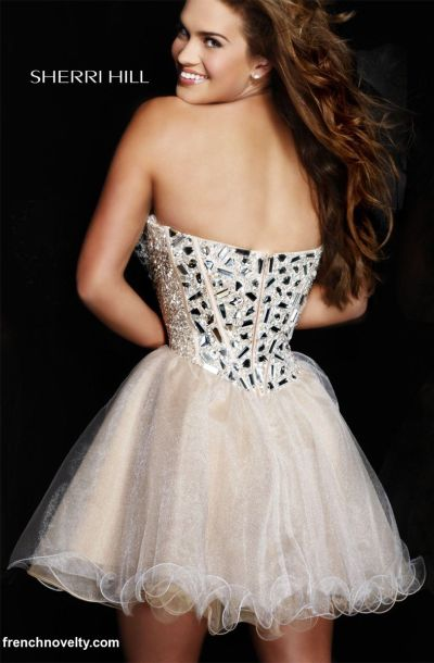 Sherri Hill Beaded Corset Short Party Dress 1403: French Novelty