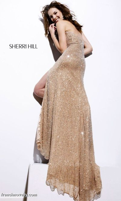 Sherri Hill Nude Fully Sequined Prom Dress 2574: French Novelty
