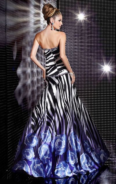 Studio 17 Zebra Floral Print Prom Dress 12229: French Novelty