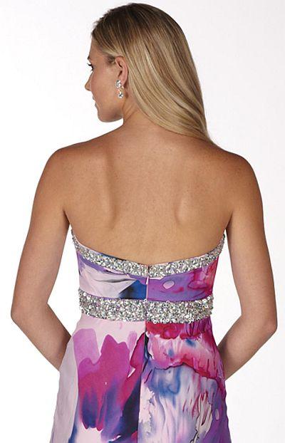 Alyce Paris Romantic Purple Floral Print Prom Dress 6779