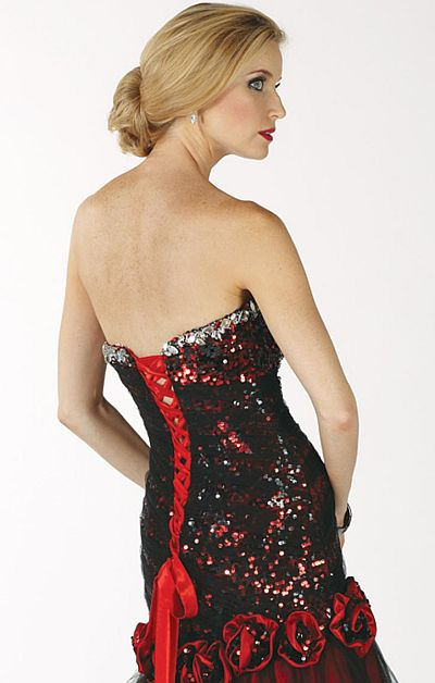 Alyce Paris Black Label Red and Black Sequin Tulle Gown 5456  French ... 2d80fbc91