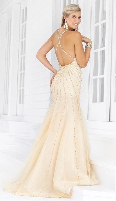 2012 Prom Dresses Blush Prom Beaded Gown 9325: French Novelty