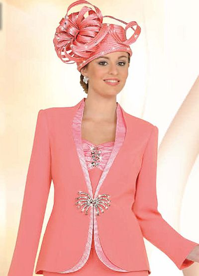 Ben Marc Womens Coral Embellished 3pc Church Suit 47113 French Novelty