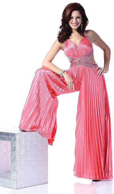 Johnathan Kayne Hot Coral Palazzo Pant Suit for Prom 226: French ...