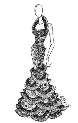 Johnathan Kayne Spanish Lace Ruffle Halter Collar Prom