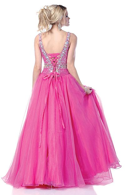 Johnathan Kayne Hot Pink Lace-Up Back Prom Ball Gown 265: French ...