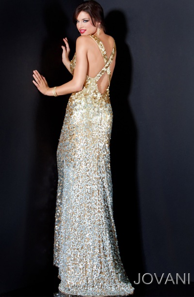 Jovani Gold and Silver Ombre Sequin Long Prom Dress 11002: French ...