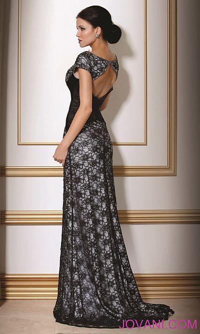 Jovani Black Silver Evening Dress 171055: French Novelty