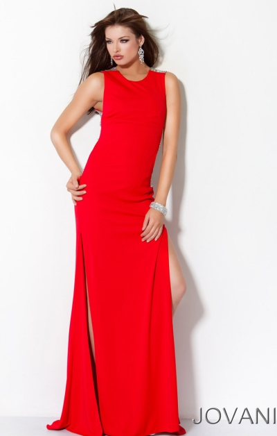 Jovani Long Jersey Knit Evening Dress With Sparkle 3112
