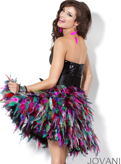 Jovani Short Sequin And Feather Prom Dress 3509 French