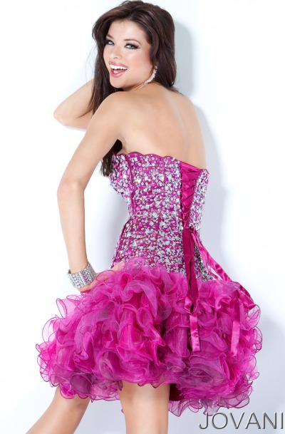 Jovani Short Ruffle Prom Dress 3572: French Novelty
