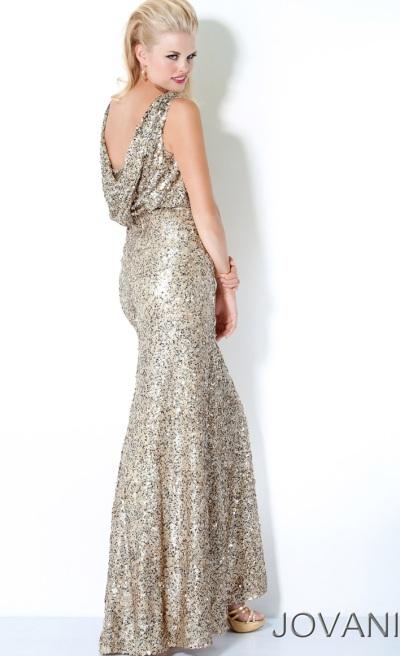 Jovani Brown Cowl Neck Long Prom Dress 608: French Novelty