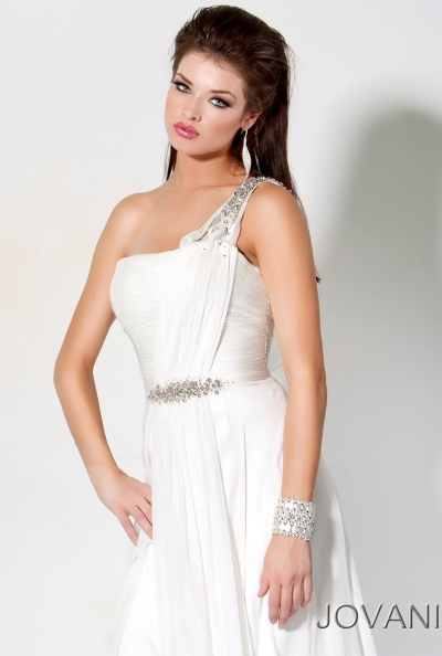Jovani Greek Goddess One Shoulder Prom Gown 7825: French Novelty