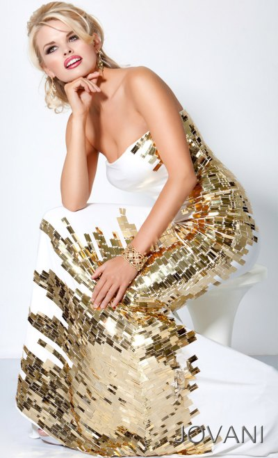 Jovani Long Prom Dress With Gold Beaded Side Panel 9610