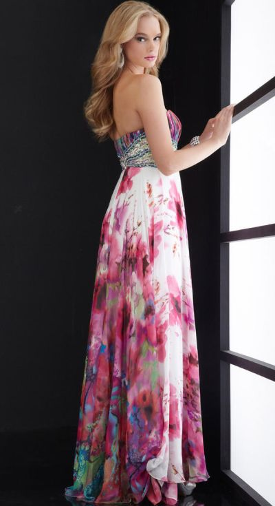 Jasz Spectacular Floral Print Prom Dress 4518: French Novelty