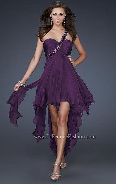 La Femme One Strap Chiffon High Low Prom Dress 16924
