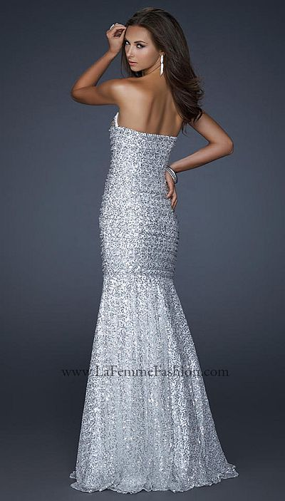 La Femme Light Silver Form Fitting Prom Dress 17103