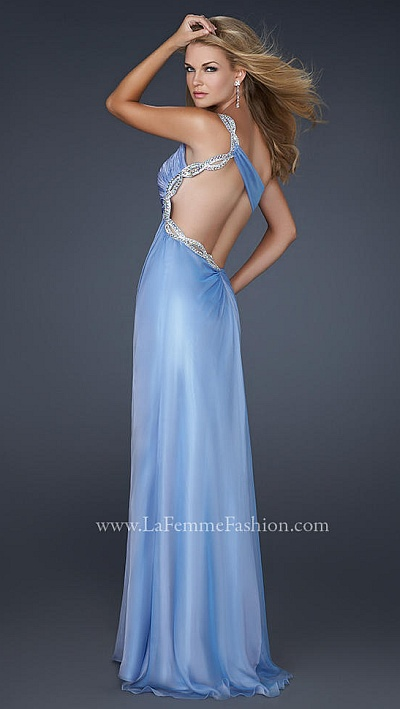 La Femme Periwinkle Looped Chiffon Prom Dress 17162: French Novelty