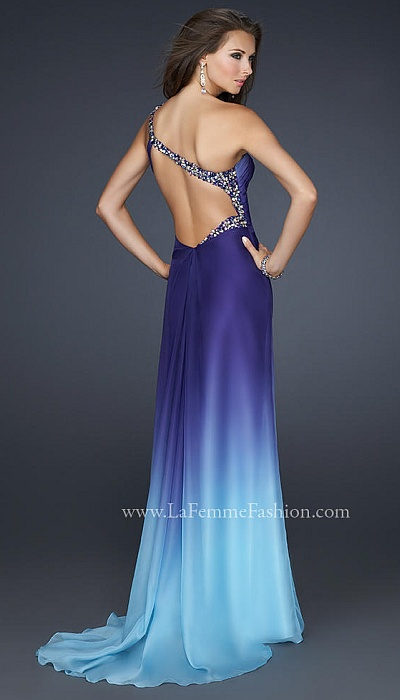 La Femme Teal Blue Flower Design Beaded Prom Dress 17172: French ...