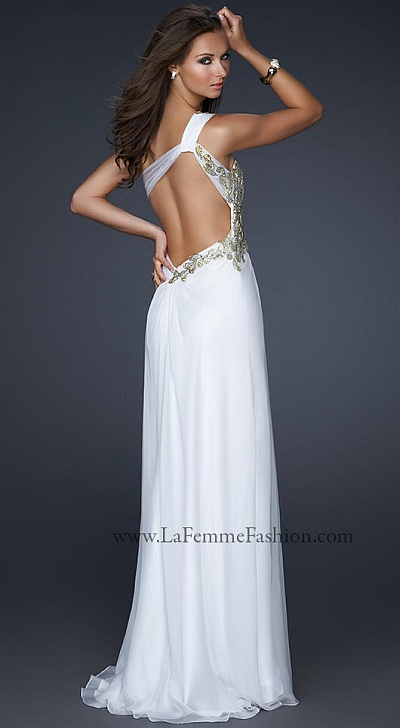 Size 0 Periwinkle Gold La Femme Hand Painted Chiffon Prom