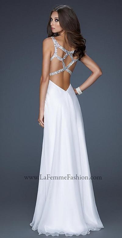 La Femme Chiffon Prom Dress with Unique Beaded Back Straps 17248 ...