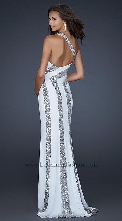 La Femme White Silver Jersey Prom Dress with Sequin Pattern 17314 ...