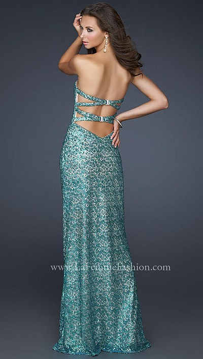 La Femme Form Fitting Sequin Prom Dress 17369 French Novelty
