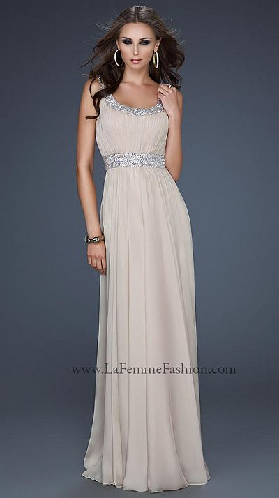 La Femme Grecian Inspired Scoop Neck Prom Dress 17473: French Novelty