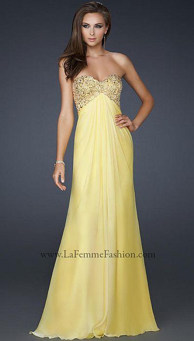 La Femme Hand Painted Chiffon Prom Dress 17499 French Novelty