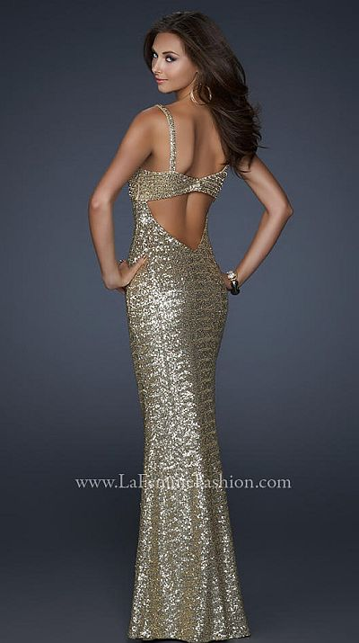 La femme gold sequin prom dress with beautiful open back 17658 french
