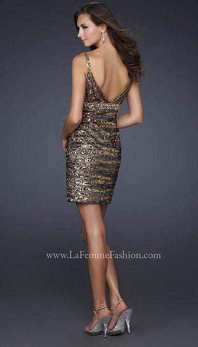 La Femme Bronze and Charcoal Sequin Stripe Cocktail Prom Dress ...