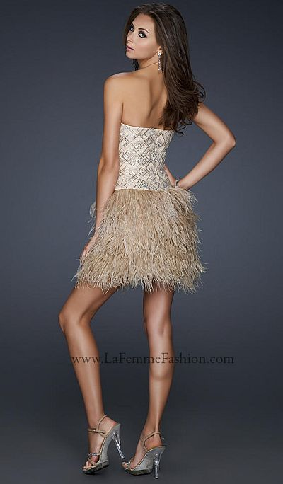La Femme One of a Kind Cocktail Prom Dress with Feathers 17440 ...