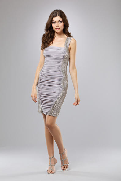 Mignon Short Ruched Cocktail Dress VM629: French Novelty