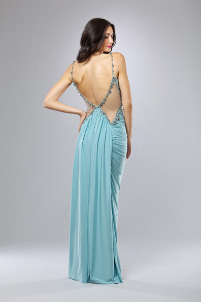 Mignon Fitted Evening Dress with Open Back VM742: French Novelty