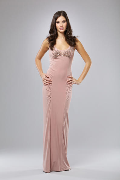 Mignon Fitted Evening Dress with Beading VM752: French Novelty