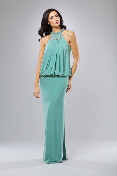 Mignon Cold Shoulder Blouson Evening Dress Vm793
